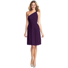 Graceful One Shoulder Chiffon Cocktail Evening Party Bridesmaid Dress Purple