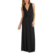 Chic Sleeveless Long Jersey Maxi Cocktail Party Evening Dress Black