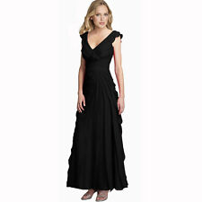 Elegant Fashion Full Length Tiered Formal Evening Party Dress Ball Gown Black
