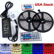 5M 3528 5050 RGB 300 SMD Flexible LED Strip Light 44key Remote 12V Power Supply