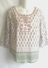 NWT LUCKY BRAND EMBROIDERED TUNIC TOP BLOUSE  KHAKI, GREEN, RED Small & XSmall