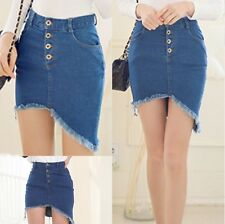 2014 New Fashion Women's Sexy Jeans Slim Package Hip Asymmetry denim Short Skirt