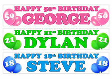 PERSONALISED BIRTHDAY BANNER -ANY NAME 1st 18th 21st 30th 40th PACK OF TWO