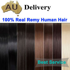 AU 8pcs 18 Clip in Tangle Free Black Brown Blonde Remy Human Hair Extension Weft