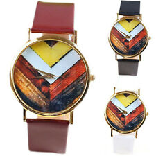 Mens Womens Wave Dial Geneva Quartz Leather Band Analog Dress Wrist Watches  T3