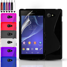 S-Line Silicone Gel Case Cover Pouch For Sony Experia M2 & Screen Protector