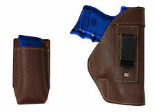 NEW Barsony Brown Leather IWB Gun Holster + Mag Pouch Glock Compact 9mm 40 45