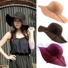 Vintage Women Lady 100% Wool Wide Brim Felt Bowler Fedora Hat Floppy Cloche