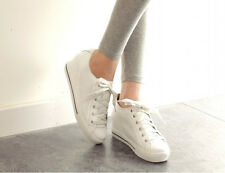 Womens Fashion Hidden Wedge Heel Lace Up Sneaker Athletic Tennis Casual Shoes