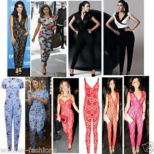 NEW LADIES WOMEN CELEB TOWIE JESSICA KIM KHLOE JUMPSUIT LACE MESH SIZE 8-14