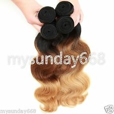 4Bundles Ombre1b33#27# 3-Tone 100%Human Hair Extensions Brazilian BodyWave hOT