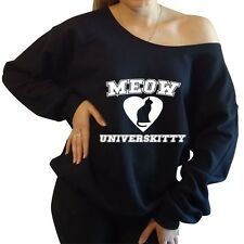 Meow Universkitty Slouchy Oversized Off the Shoulder Sweatshirt