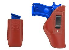 New Barsony Burgundy Leather IWB Holster + Mag Pouch Llama Kimber Full Size 9mm