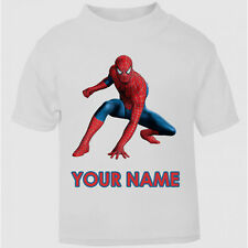 Personalised Spiderman Superhero T-Shirt Boys Girls Top Age Size Cool Kids New