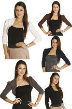 S M L BASIC 3/4 SLV PUFF Shawl Crop Shrug Bolero Jacket Shrug Cropped Cardigan