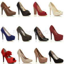 WOMENS LADIES HIGH HEEL CONCEALED PLATFORM CLASSIC PARTY COURT SHOES PUMPS SIZE