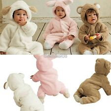 Baby Fleece Cotton Animal costume Hooded Romper Outfit Playsuit Size 0-2 Years