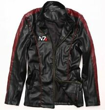 Mass Effect 3 N7 Cosplay Leatherette Leather Coat Costume Motorcycle Jacket