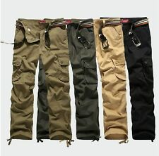 Mens Vintage Cargo Straight Casual Loose Military Outdoor Hiking Trousers Pants