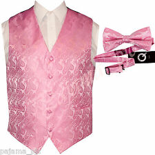 PINK XS to 6XL Paisley Tuxedo Suit Dress Vest Waistcoat & Bow tie Wedding Prom