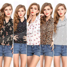 Hot selling Fashion women Chiffon Long Sleeve Floral Shirt Tops Blouse T-shirt