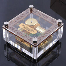 Many Songs! Unique Place Photo Gold Movement Windup Music Box Kid Toy Girl Gift