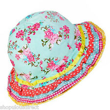 Multi floral summer sun hat girls child 3 sizes 2-6yrs kid cotton lined beach