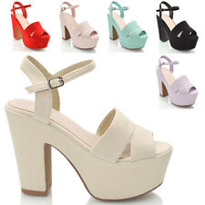 WOMENS HIGH HEEL CHUNKY SOLE CUT OUT STRAPPY PLATFORM LADIES WEDGE SANDAL SHOES