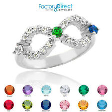 Triple CZ Birthstone Infinity Sterling Silver Ring 3 Stones Zirconia Clear April