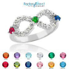 Triple CZ Birthstone Infinity Sterling Silver Ring 3 Stones! Ruby Red (July)