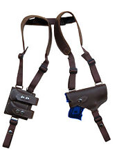 NEW Brown Leather Shoulder Holster w/ Dbl Magazine Pouch Walther Steyr Compact
