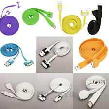 3Ft/6ft/10Ft Flat Noodle USB Data Sync Charger Cable for iPhone 3GS/4G/4S iPod