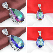 Antique Teardrop Rainbow Fire Mystical Topaz Gemstone Silver Necklace Pendant