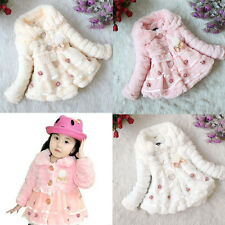 2014 Autumn Winter Cute Little Girl Baby Kid Lace Fleece Dress Coat Clothes New