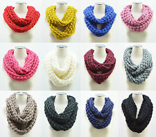Crochet Cable Knit Infinity Scarf 2 Circle Cable Knit Cowl Neck Long Women Shawl