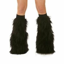 Black Rave Furry Fluffy Boot Cover Fluffies With Black Kneebands