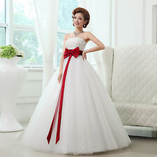 Sweet Red butterfly Bound waist Backless sleeveless Bridal Gowns Wedding Dress