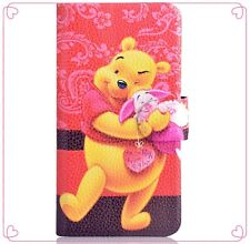 2014 New Cute yellow cartoon pooh pink pig flip PU leather case cover for Nokia