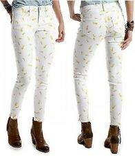 Chip & Pepper CALIFORNIA White/Yellow Pineapple Denim Ankle Skinny Jean - $68