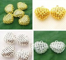 6PCS gold/silver plated fashion charm hollow heart Pendant DIY jewelry making