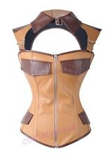 Gothic Brown Faux Leather Steampunk Corset Size S-2XL Waistcoat Collar CM A2384