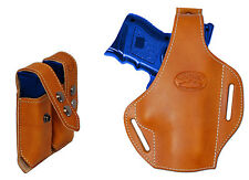 New Tan Leather Pancake Gun Holster + Dbl Mag Pouch for Glock Compact 9mm 40 45