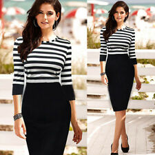 Womens Elegant Pinup Stripe Bodycon Wear To Work Casual Tunic Shift Pencil Dress