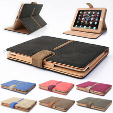 Suede Leather Rotating Smart Case Cover for iPad Air 1 & 2 + Protector & Stylus
