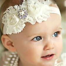 Baby Girl Headband with Shabby Flowers Roses and Rhinestone, Christening, Party