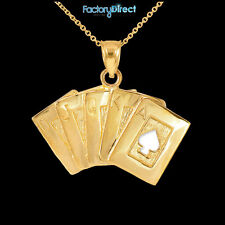 Gold Royal Flush Pendant Necklace Ace Of Spade A K Q J 10 Poker Cards