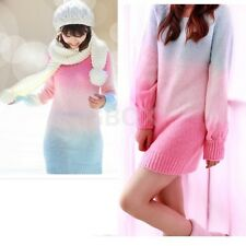 Hot Women's Gradient Colorful Knitwear Sweater Coat Tops Round Collar Outerwear