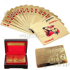 24K Karat Gold Foil Plated Poker Playing Card With Wood Box And Certificate Gift