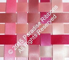 2 METRES Berisfords Double Satin Ribbon 10 PINK SHADES - Choose Width + Shade