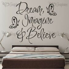 DREAM IMAGINE & BELIEVE Wall Art Quote Sticker Vinyl Decal Home Art Decoration!